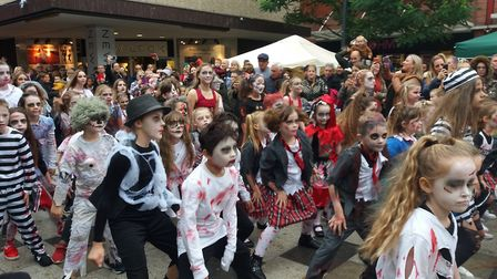 Indentity Dance performed a flash mob to thriller at the Stevenage Halloween-tastic event. Picture: