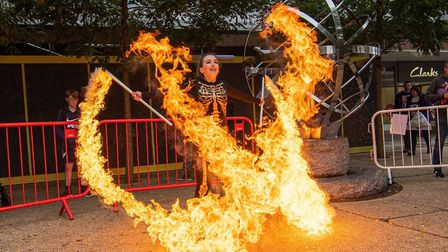 Crowds were entertaining by fire performer Kitty Devereux at the Stevenage Halloween-tastic event. P