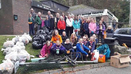 The Hitchin 11th Guides tidied up their regular patch in the Dell. Picture: Rachel Campbell