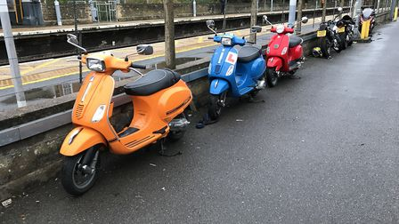 The area where motorbikes and scooters are usually parked at the Audley End train station. Photo: CO