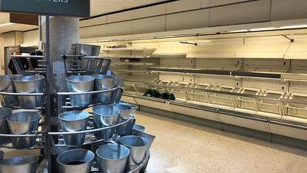 The empty shelves as the store prepares to permanently close. Picture: Nicky Williams.