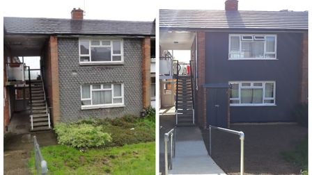 Before and after the major works at a flat block in Stevenage's Plash Drive. Picture: courtesy of St