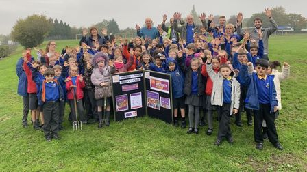 Whitehill pupils joined forces with Hitchin Priory Rotary Club planting 3000 crocus bulbs for this y