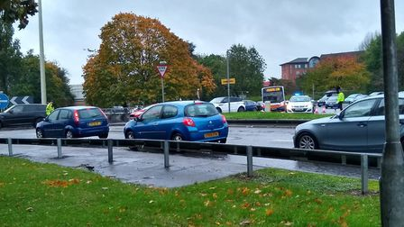 Traffic is building in Stevenage town centre after police closed part of Lytton Way. Picture: Archan