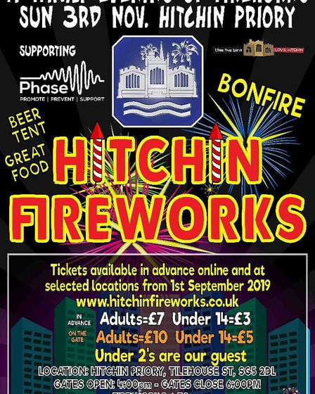 Hitchin Fireworks will take place on Sunday, November 3, 2019 at Hitchin Priory.