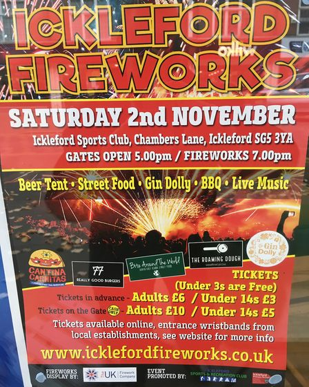 Ickleford's fireworks will take place on Saturday, November 2. Picture: Alan Davies.