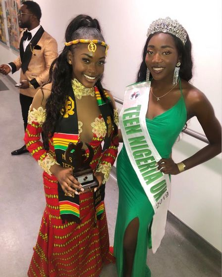 First ever Miss Teen Nigeria UK Anna-Marie Uzokwe with the winner of Miss Teen Ghana. Picture: Court