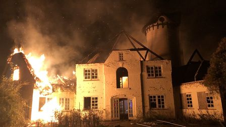The thatched roof of Node Court in Codicote caught alight overnight. Picture: Sean Comerford