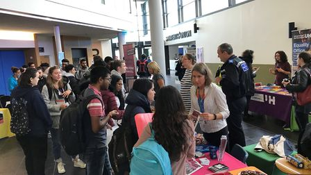 Herts police officers dropped in to University of Hertfordshire Hatfield campus yesterday to promote