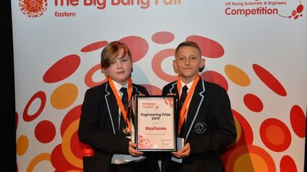 Barnwell's Callum-Mac Deards and Marko Borgis wowed the judges with their Lego robot project. Pictur
