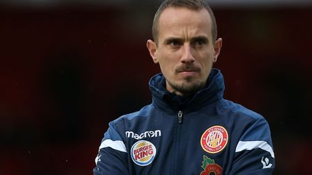 Stevenage manager Mark Sampson during Stevenage vs Peterborough United, Emirates FA Cup Football at