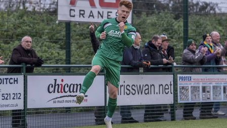 Alex Marsh celebrates his goal for Hitchin Town against Redditch United. Picture: Peter Else