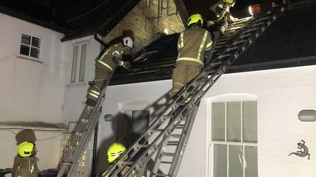 Firefighters from Hitchin, Stevenage and Baldock tackled a fire in Silver Court, Hitchin. Picture: S