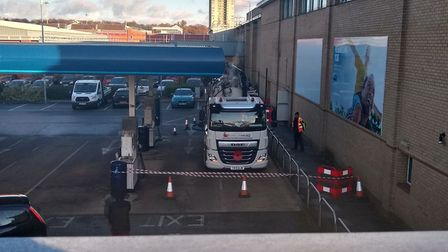 Drain cleaning specialists have been called to the Stevenage Tesco Extra store this afternoon. Pictu
