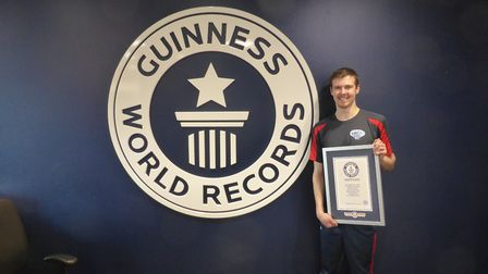 Stevenage's James Acraman has set a new Guinness World Record for sport stacking. Picture: Courtesy