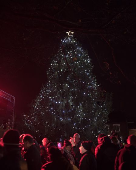 Stevenage Old Town's Christmas tree has been officially lit up! Picture: Michael Baffour