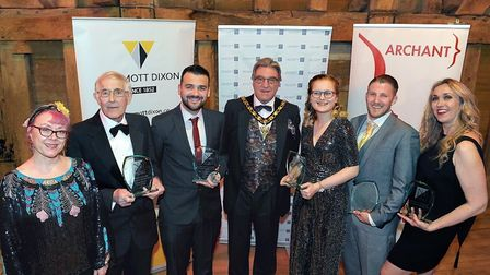 NHDC's Claire Morgan (left) and Councillor John Bishop (centre) with the Chairman's Volunteer Awards