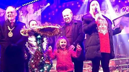 Isabella North, 5, took to the stage with Stevenage Mayor Simon Speller and Britain's Got Talent's G