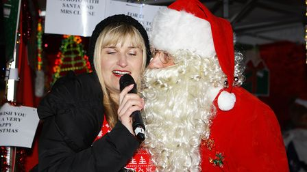 Stevenage Christmas Lights Switch On - Father Christmas entertains the crowds.Picture: Karyn Had