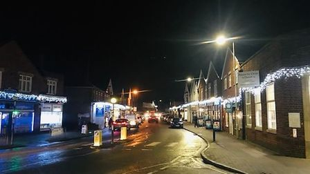 The Christmas lights are twinkling in Knebworth's London Road. Picture: Courtesy of Darren Gilbert