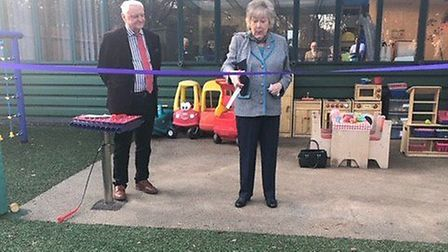 Lady Hobson and Tracks' Chairman Mervyn Terrett open the centre's new sensory garden. Picture: Suppl