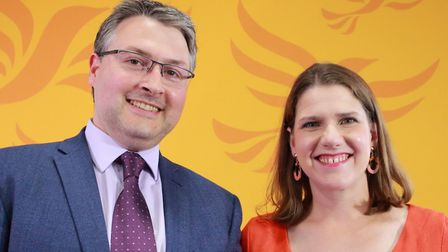 Liberal Democrat candidate for North East Bedfordshire, Daniel Norton, with party leader Jo Swinson.