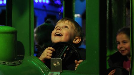 Baldock Christmas Lights Switch On 2019 - Jimmy King, 5, enjoys the fairground ride.