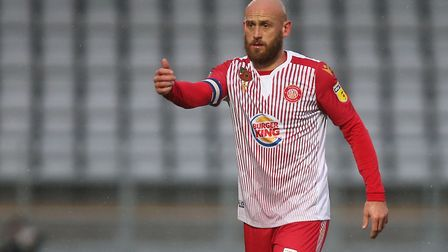 Scott Cuthbert of Stevenage during Stevenage vs Peterborough United, Emirates FA Cup Football at the