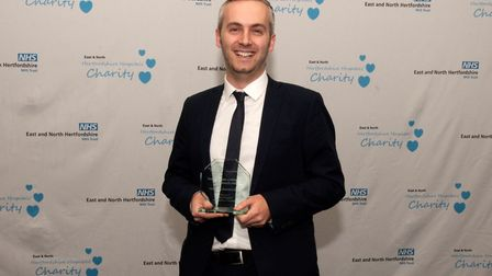 East and North Hertfordshire NHS Trust staff awards 2019: Glyn Doggett with his Charity Champion Awa