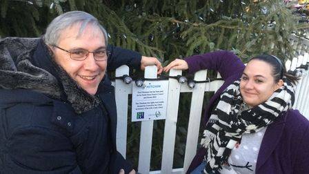 Ian and his 29-year-old daughter Louise outside the plaque dedicated to Linda. Picture: Ian Albert