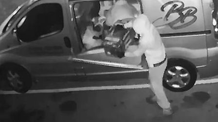Poilice have released CCTV footage of four offenders breaking into a van and stealing contents, foll