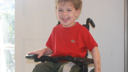 Frankie Sheridan-Hill, aged four, has a neurological condition called H-abc Leukodystrophy. Picture: