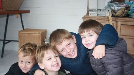 Frankie, second left, with his cousins. Picture: Amy Sheridan-Hill