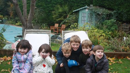 Frankie with his cousins at his grandparents home in Aston near Stevenage. Picture: Amy Sheridan-Hil