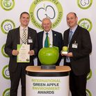 Sam Lomax (left) and Martin Churley (right) from London Stansted Airport collecting their award (cre