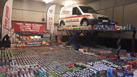 The donations STS Tyre Pros collected for Stevenage foodbank. Picture: STS Tyre Pros