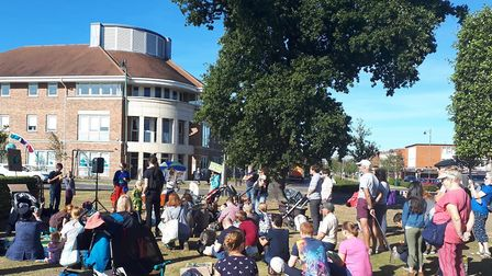 Parents and children turned out for the family friendly protest on climate change in Letchworth. Pic