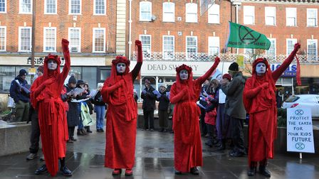 Extinction Rebellion North Herts and the Red Rebels held a demonstration in Letchworth town centre t