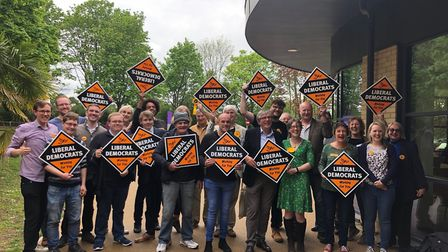 Liberal Democrats celebrating their four gains at the North Herts Local Election 2019. Picture: Simo