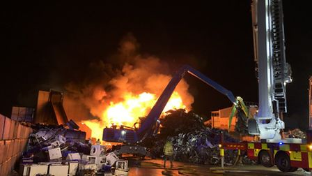 Crews are tackling a large fire at a scrapyard in Hitchin. Picture: Herts Fire and Rescue Service