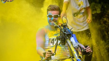 Ricky, pictured during the Colour me Krazy 5k event. Picture: Wheelchair Marathon Journey