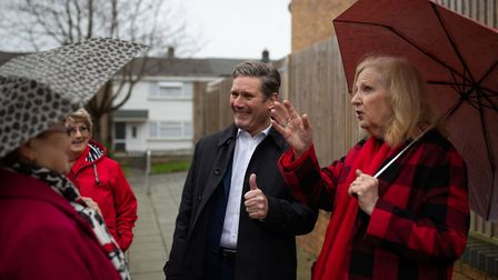 Labour MP Sir Keir Starmer with Labour council members during a visit Stevenage, following the launc