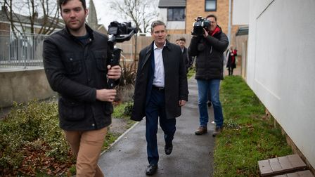Labour MP Sir Keir Starmer is filmed during a visit to King Pin Square housing development in Steve