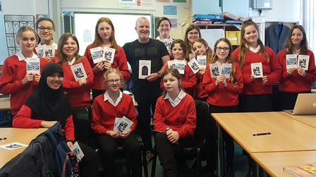 Pupils from The Priory School meet Hitchin-based author Matt Adcock. Picture: Richard Mayers