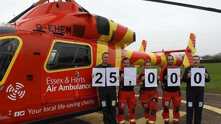 The Essex and Herts Air Ambulance Trust recently attended their 25,000th mission. Picture: EHAAT