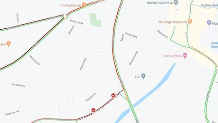 There is heavy traffic in Hitchin after a crash. Picture: Google Maps