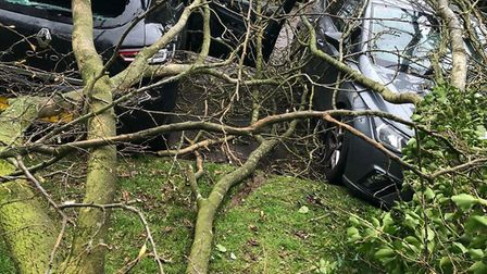 The aftermath of the near miss in Oakfields, Stevenage. Picture: Supplied