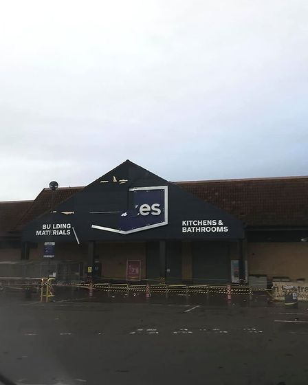 Panelling from the Wickes sign in Letchworth suffered extensive damage. Picture: Georgina Tamara Tay