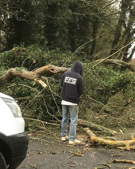 Power Fencing Services Ltd helped clear the road blocked into Wymondley. Picture: Stacey Louise Bare
