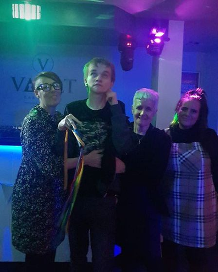 Gus celebrates his 21st birthday at The Vault in Stevenage, with club manager Cheri (far right) and
